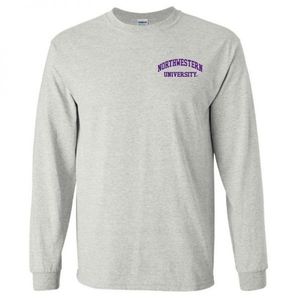 Northwestern University Wildcats Men's Ash Grey Long Sleeve Tee Shirt with Left Chest Embroidered Northwestern University Design