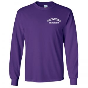 Northwestern University Wildcats Men's Purple Long Sleeve Tee Shirt with Left Chest Embroidered Northwestern University Design