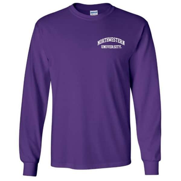Northwestern University Wildcats Men's Purple Long Sleeve Tee Shirt with Left Chest Embroidered Northwestern University Design