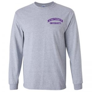 Northwestern University Wildcats Men's Sport Grey Long Sleeve Tee Shirt with Left Chest Embroidered Northwestern University Design