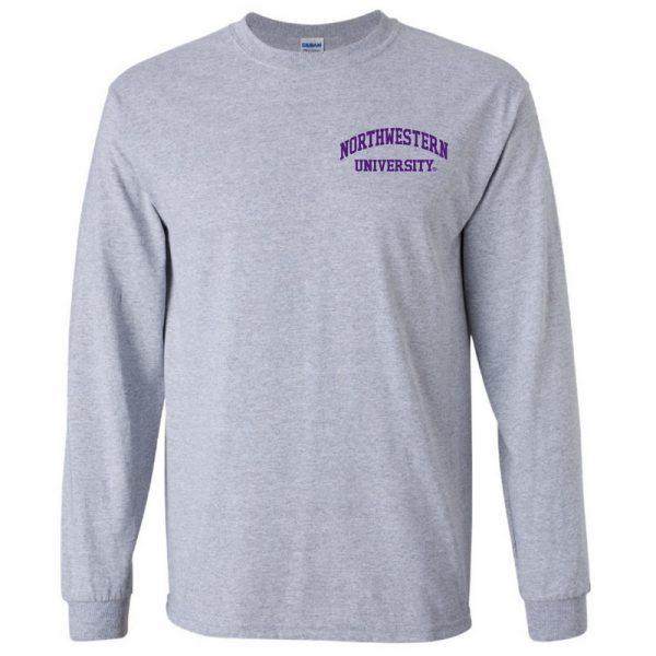 Northwestern University Wildcats Men's Sport Grey Long Sleeve Tee Shirt with Left Chest Embroidered Northwestern University Design
