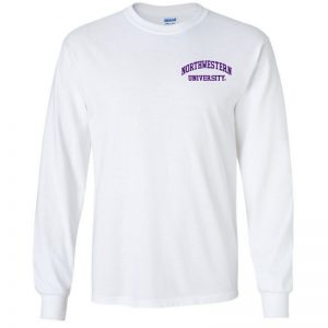 Northwestern University Wildcats Men's White Long Sleeve Tee Shirt with Left Chest Embroidered Northwestern University Design