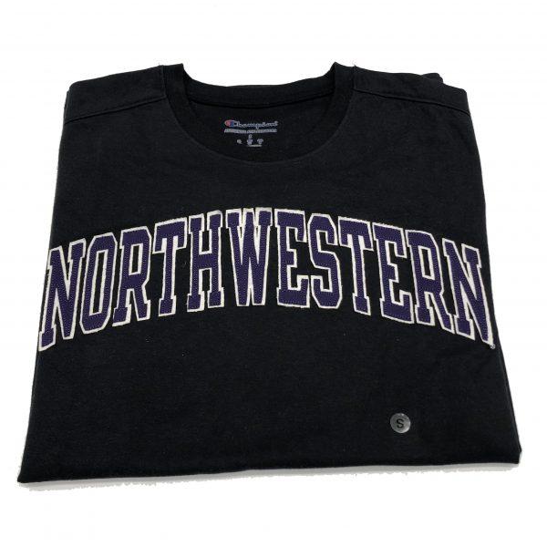 Northwestern University Wildcats Men's Black Short Sleeve Tee Shirt with Vintage Appliqué Arched Northwestern Design -2