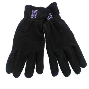 Northwestern University Wildcats Black Polar Fleece Gloves With Stylized N Design-2