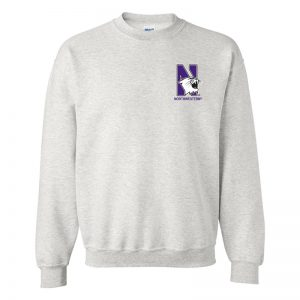 Northwestern University Wildcats Men's Ash Grey Crewneck Sweatshirt with Left Chest Embroidered N-Cat & Northwestern Design