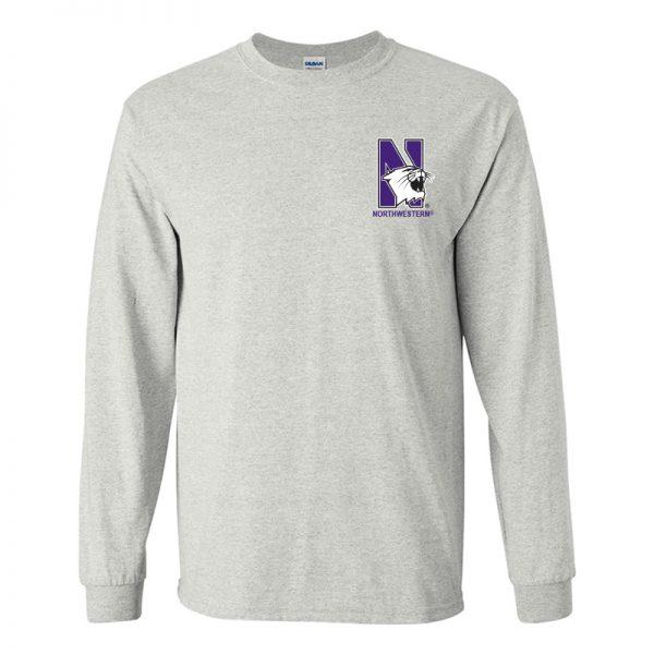 Northwestern University Wildcats Men's Ash Grey Long Sleeve Tee Shirt with Left Chest Embroidered N-Cat & Northwestern Design