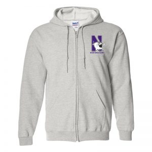 Northwestern University Wildcats Men's Ash Grey Full-Zip Hooded Sweatshirt with Left Chest Embroidered N-Cat & Northwestern Design