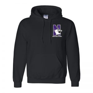 Northwestern University Wildcats Men's Black Hooded Sweatshirt with Left Chest Embroidered N-Cat & Northwestern Design