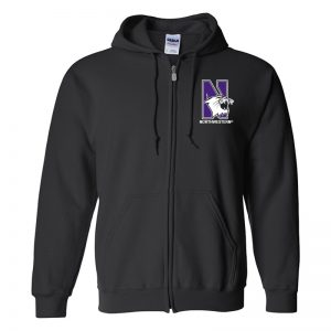 Northwestern University Wildcats Men's Black Full-Zip Hooded Sweatshirt with Left Chest Embroidered N-Cat & Northwestern Design
