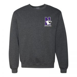 Northwestern University Wildcats Men's Black Heather Crewneck Sweatshirt with Left Chest Embroidered N-Cat & Northwestern Design
