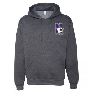 Northwestern University Wildcats Men's Black Heather Hooded Sweatshirt with Left Chest Embroidered N-Cat & Northwestern Design