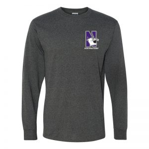Northwestern University Wildcats Men's Black Heather Long Sleeve Tee Shirt with Left Chest Embroidered N-Cat & Northwestern Design