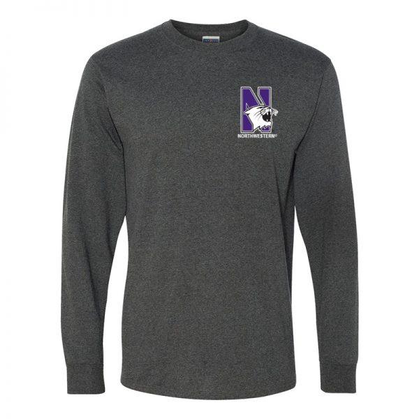 Northwestern University Wildcats Men's Black Heather Long Sleeve Tee Shirt with Left Chest Embroidered N-Cat & Northwestern Design