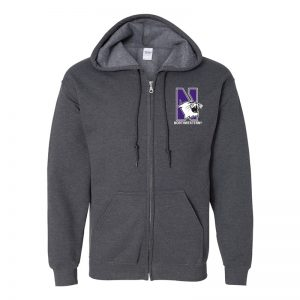 Northwestern University Wildcats Men's Black Heather Full-Zip Hooded Sweatshirt with Left Chest Embroidered N-Cat & Northwestern Design