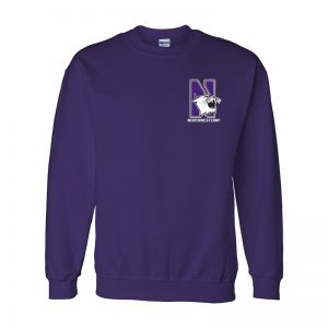 Northwestern University Wildcats Men's Purple Crewneck Sweatshirt with Left Chest Embroidered N-Cat & Northwestern Design