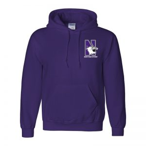 Northwestern University Wildcats Men's Purple Hooded Sweatshirt with Left Chest Embroidered N-Cat & Northwestern Design