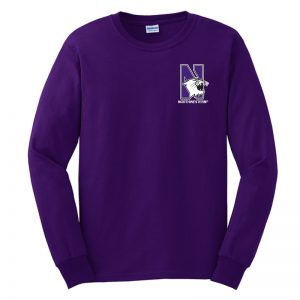 Northwestern University Wildcats Men's Purple Long Sleeve Tee Shirt with Left Chest Embroidered N-Cat & Northwestern Design