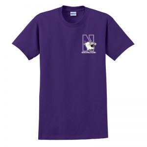 Northwestern University Wildcats Men's Purple Short Sleeve Tee Shirt with Left Chest Embroidered N-Cat & Northwestern Design