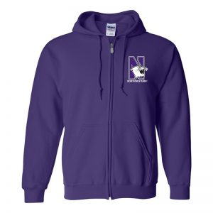 Northwestern University Wildcats Men's Purple Full-Zip Hooded Sweatshirt with Left Chest Embroidered N-Cat & Northwestern Design