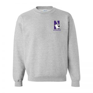 Northwestern University Wildcats Men's Sport Grey Crewneck Sweatshirt with Left Chest Embroidered N-Cat & Northwestern Design