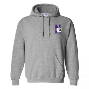 Northwestern University Wildcats Men's Sport Grey Hooded Sweatshirt with Left Chest Embroidered N-Cat & Northwestern Design