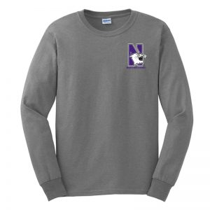 Northwestern University Wildcats Men's Sport Grey Long Sleeve Tee Shirt with Left Chest Embroidered N-Cat & Northwestern Design