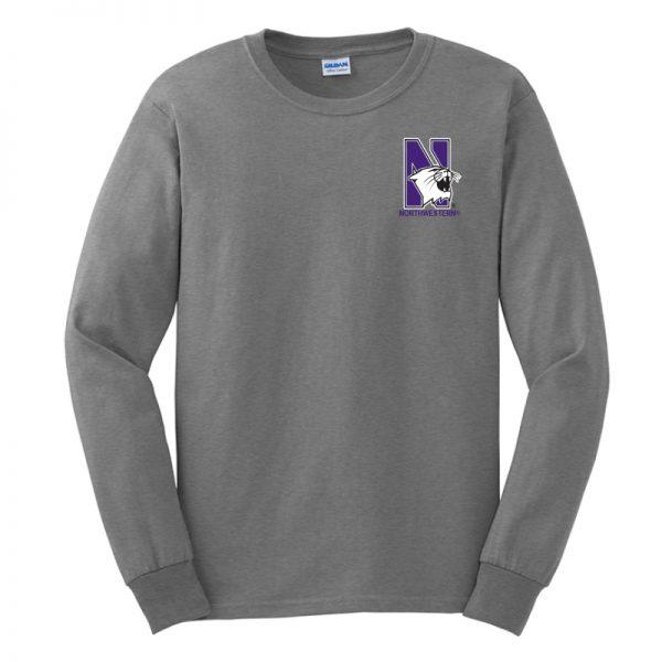 Northwestern University Wildcats Men's Sport Grey Long Sleeve Tee Shirt with Left Chest Embroidered N-Cat & Northwestern Design