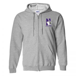 Northwestern University Wildcats Men's Sport Grey Full-Zip Hooded Sweatshirt with Left Chest Embroidered N-Cat & Northwestern Design