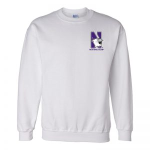 Northwestern University Wildcats Men's White Crewneck Sweatshirt with Left Chest Embroidered N-Cat & Northwestern Design