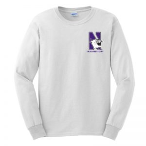 Northwestern University Wildcats Men's White Long Sleeve Tee Shirt with Left Chest Embroidered N-Cat & Northwestern Design