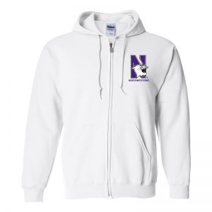 Northwestern University Wildcats Men's White Full-Zip Hooded Sweatshirt with Left Chest Embroidered N-Cat & Northwestern Design