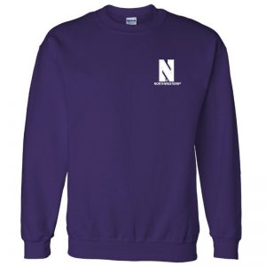 Northwestern University Wildcats Men's Purple Crewneck Sweatshirt with Left Chest Embroidered Stylized N & Northwestern Design