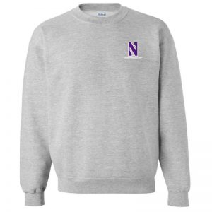 Northwestern University Wildcats Men's Sport Grey Crewneck Sweatshirt with Left Chest Embroidered Stylized N & Northwestern Design