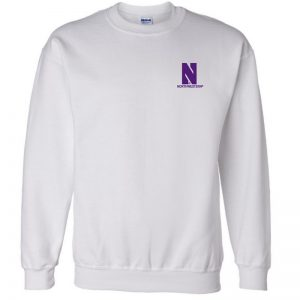 Northwestern University Wildcats Men's White Crewneck Sweatshirt with Left Chest Embroidered Stylized N & Northwestern Design
