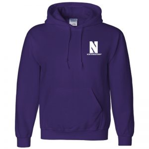 Northwestern University Wildcats Men's Purple Hooded Sweatshirt with Left Chest Embroidered Stylized N & Northwestern Design