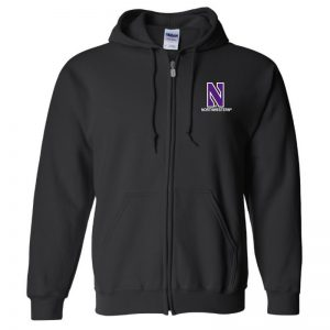 Northwestern University Wildcats Men's Black Full-Zip Hooded Sweatshirt with Left Chest Embroidered Stylized N & Northwestern Design
