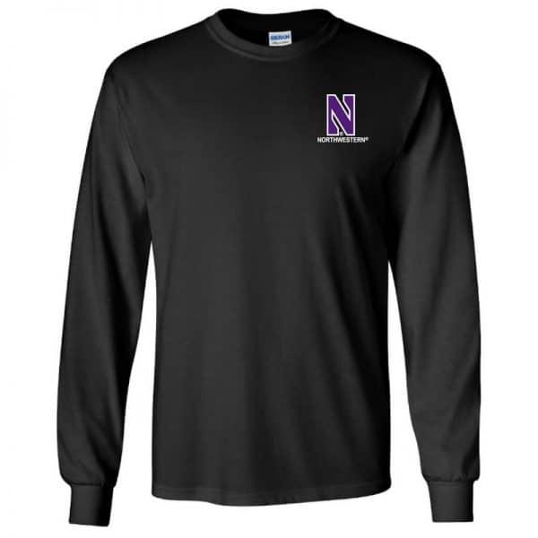 Northwestern University Wildcats Men's Black Long Sleeve Tee Shirt with Left Chest Embroidered Stylized N & Northwestern Design