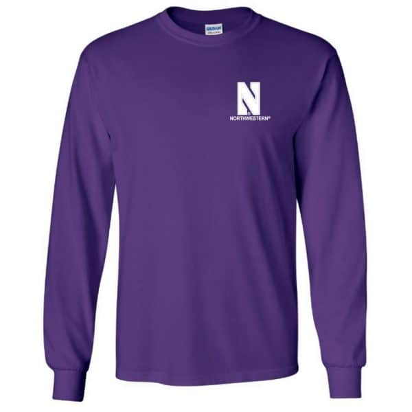 Northwestern University Wildcats Men's Purple Long Sleeve Tee Shirt with Left Chest Embroidered Stylized N & Northwestern Design