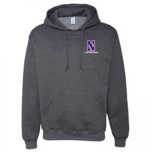 Northwestern University Wildcats Men's Black Heather Hooded Sweatshirt with Left Chest Embroidered Stylized N & Northwestern Design