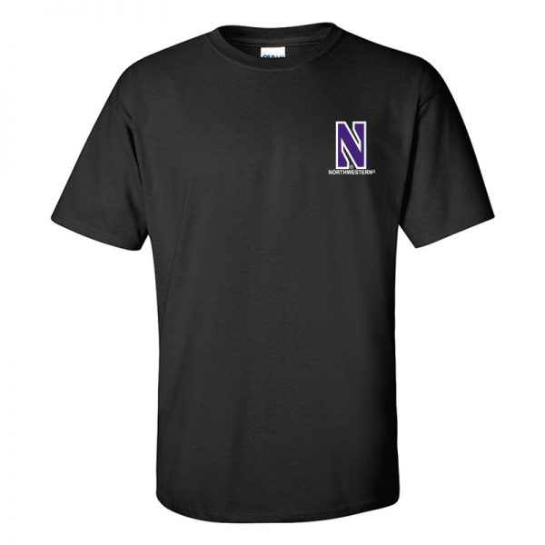 Northwestern University Wildcats Men's Black Short Sleeve Tee Shirt with Left Chest Embroidered Stylized N & Northwestern Design