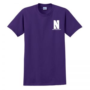 Northwestern University Wildcats Men's Purple Short Sleeve Tee Shirt with Left Chest Embroidered Stylized N & Northwestern Design