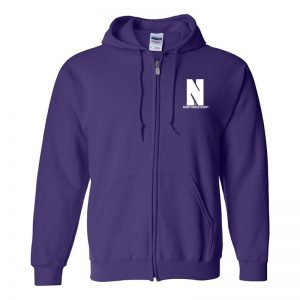 Northwestern University Wildcats Men's Purple Full-Zip Hooded Sweatshirt with Left Chest Embroidered Stylized N & Northwestern Design