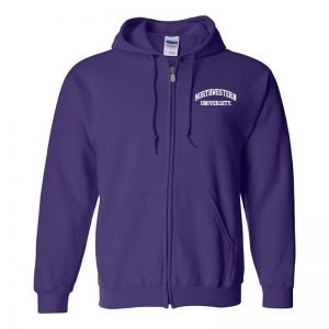 Northwestern University Wildcats Men's Purple Full-Zip Hooded Sweatshirt with Left Chest Embroidered Northwestern University Design