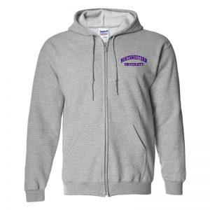 Northwestern University Wildcats Men's Sport Grey Full-Zip Hooded Sweatshirt with Left Chest Embroidered Northwestern University Design