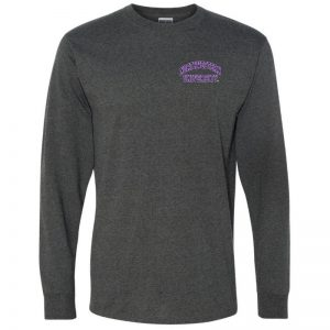 Northwestern University Wildcats Men's Black Heather Long Sleeve Tee Shirt with Left Chest Embroidered Northwestern University Design