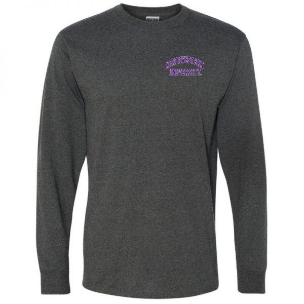 Northwestern University Wildcats Men's Black Heather Long Sleeve Tee Shirt with Left Chest Embroidered Northwestern University Design
