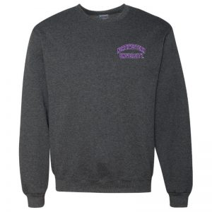 Northwestern University Wildcats Men's Black Heather Crewneck Sweatshirt with Left Chest Embroidered Northwestern University Design