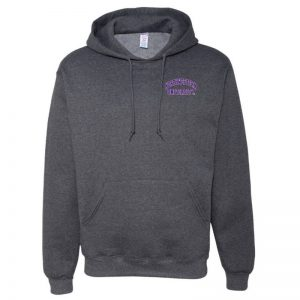 Northwestern University Wildcats Men's Black Heather Hooded Sweatshirt with Left Chest Embroidered Northwestern University Design