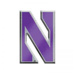 Northwestern Wildcats Silver Tone Brass Lapel Pin with Stylized N Design