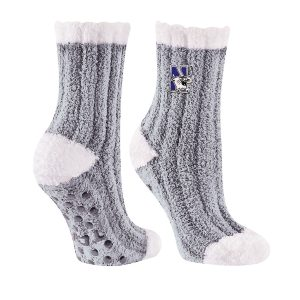 Northwestern University Wildcats Light Gray Warm Fuzzy Chunky Knit Cozy Sock